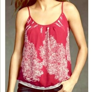 NWT CAbi Red Print Heart of CAbi Township Cami